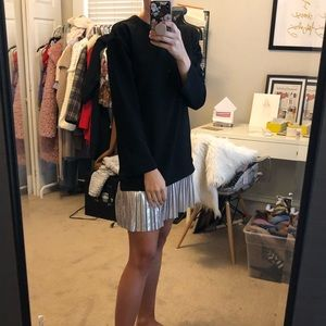 Long Sleeve shift dress with silver pleated hem